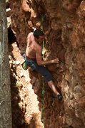 Rock Climbing Photo: Lee figures out how to unlock the Cellar Door. Jul...
