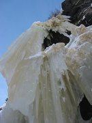 Rock Climbing Photo: Looking up the WI5 Pillar on Crystal Meth (2-6-201...