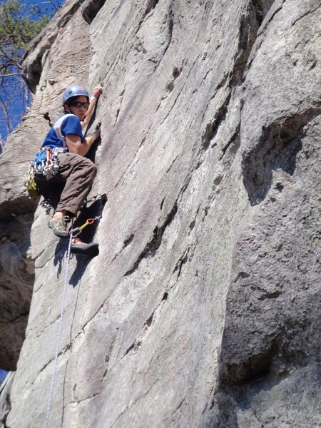 The end of the finger crack on Screamweaver at Rumbling Bald, NC. Picture taken by Adam Hutcherson