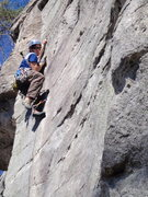 Rock Climbing Photo: The end of the finger crack on Screamweaver at Rum...