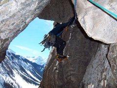 Rock Climbing Photo: Under the 3rd chockstone of pitch 3. We rock climb...