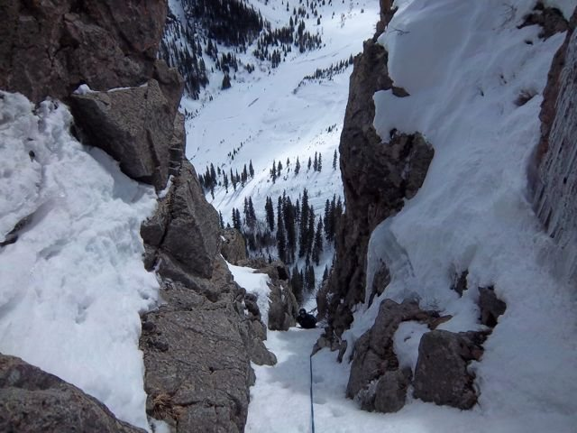 Rock Climbing Photo: This is looking down the lower half of the pitch 6...