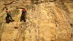 Rock Climbing Photo: Left to right: Pick Pocket, 11d; Leisure Class, 11...