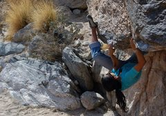 Rock Climbing Photo: Rad getting the small crystal heel up on Contorted