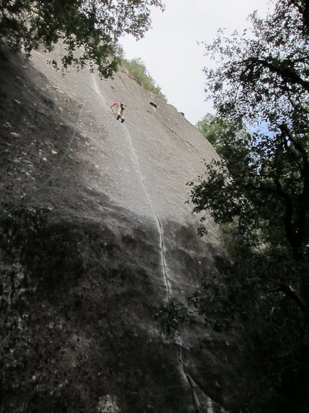Rock Climbing Photo: Lizzy on Tips. It feels much steeper than it looks...