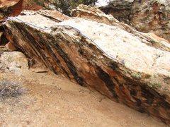 Rock Climbing Photo: Start on far right side. Heel hook and toe on acro...
