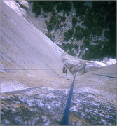 Rock Climbing Photo: FA Mescalito 1973, Charlie jumaring.