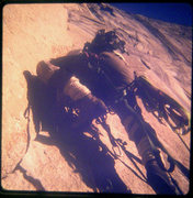 Rock Climbing Photo: FA Mescalito 1973, Charlie Porter leading off the ...