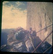 Rock Climbing Photo:   FA Mescalito 1973, Steve Sutton on top of the Bi...