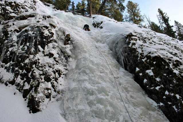 Climber on his first ice lead on Lower Green Sleeves