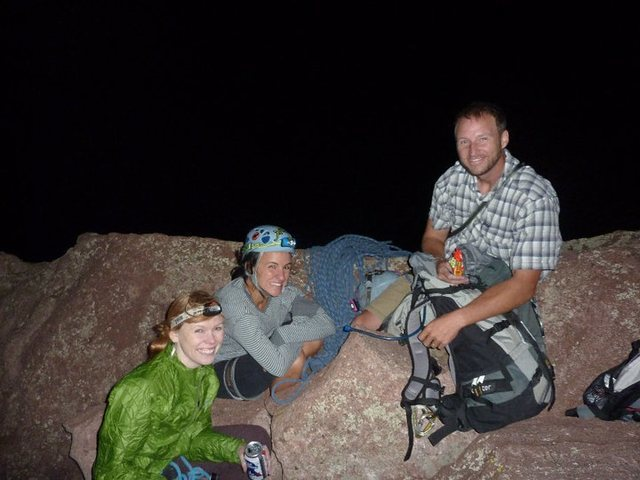 summit shot (as it was) of the yearly full moon hike up the Third Flatiron. Good stuff!