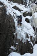 Rock Climbing Photo: Leading R of Lochluster (2-6-11), bring the stubbi...