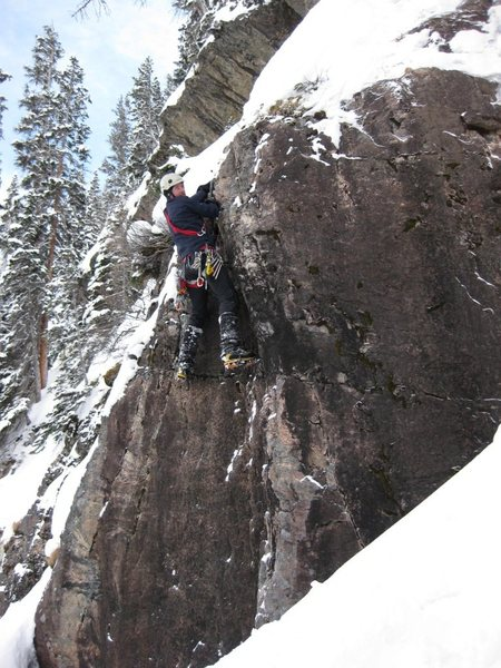 Through the crux, sticks in the turf (2-6-11). Photo Brad Cunningham.