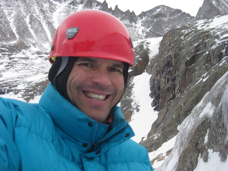 At a belay on West Gully.