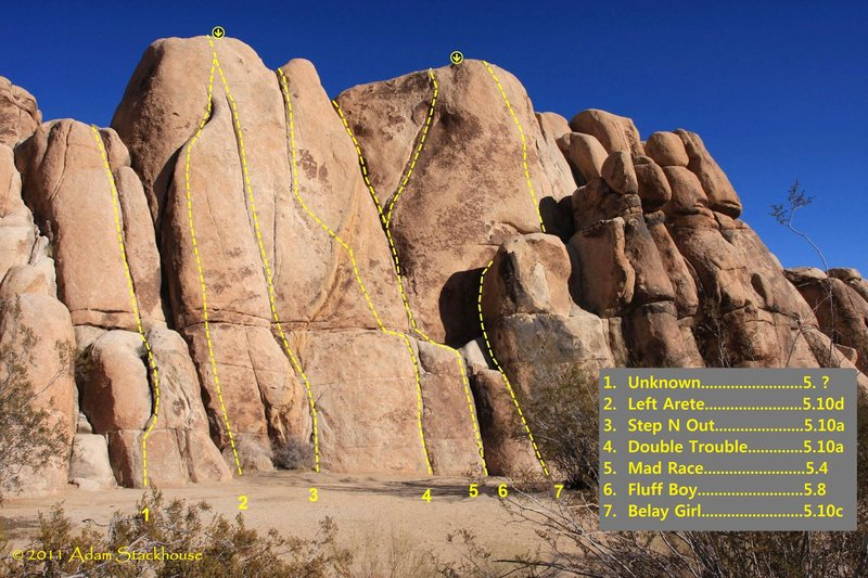 """Rock Climbing Photo: ATS topo of """"Short Wall-Left Side"""" (rout..."""