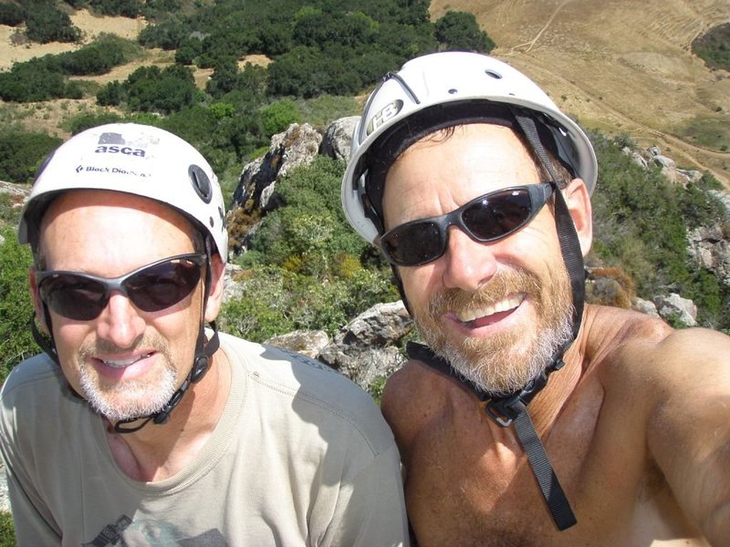 "John & Kelly at the top of Sunnyside - with the classic ""bromance"" pic."