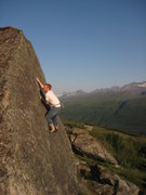Rock Climbing Photo: Easy slab high ball