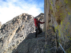 Rock Climbing Photo: Wes routefinding.