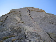 Rock Climbing Photo: headwall pitch on Warrior 1 (5.9)
