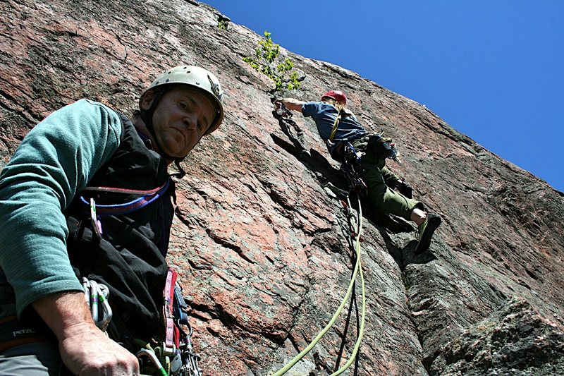 Sev's Route, P2, at Farm Rock in Gatineau Park. Unfortunately this area is now closed to climbing.<br>
