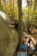 Rock Climbing Photo: Me topping out Slobadon V5, Mac Pond.  Photo: Andr...