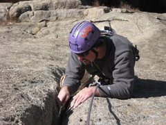 Rock Climbing Photo: Cleaning on pitch 2.