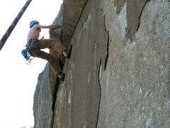 Rock Climbing Photo: Joe at The Crux of Prime Cut 5.10a