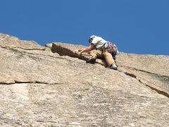 Rock Climbing Photo: Joe at the crux of Half Bassed 5.8pg