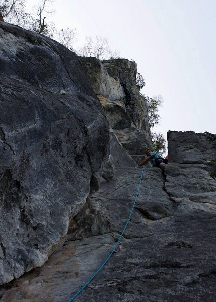 Pitch 2, start of the real climbing.  By Ram Sripracha