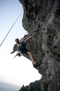 Rock Climbing Photo: Cleaning the last pitch so steep and good.  By Ram...