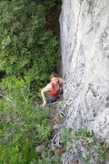 Rock Climbing Photo: Pitch 1 coming up to the top of the stalactite.  B...