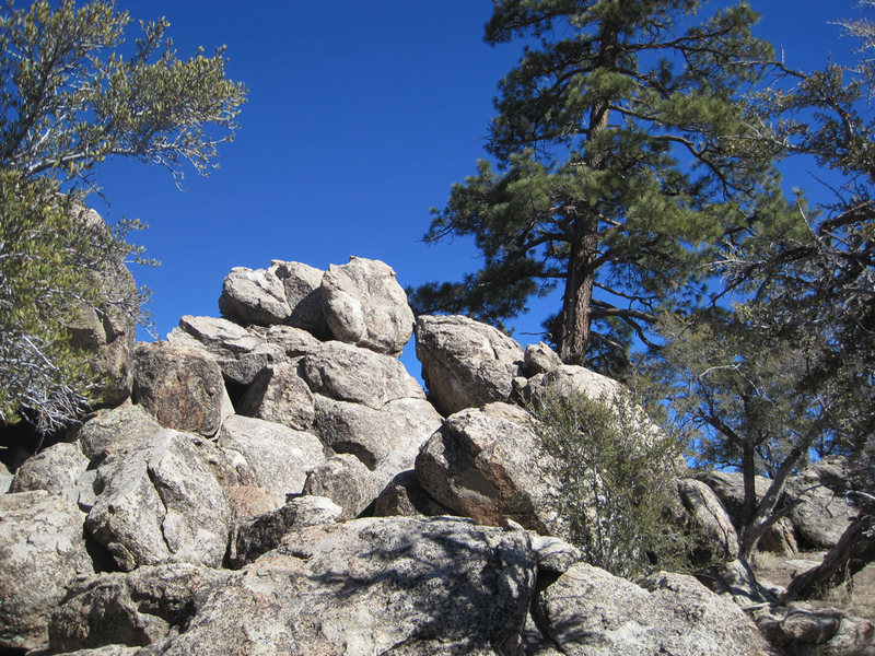 Route 13 is on the other side of these boulders.