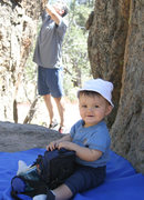 Rock Climbing Photo: Bryn hangs out (he's about 1 here, now he's 11) wh...
