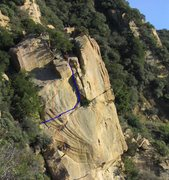 Rock Climbing Photo: Any Minute Now (5.6) follows the blue line.  2 Bol...