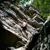 Trad climbing on Argo Tower.  Annapolis Rocks, MD