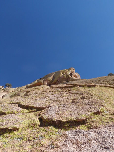 Rock Climbing Photo: Looking up at more fun run-out climbing on P4