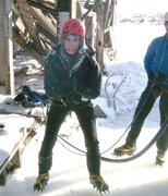 Rock Climbing Photo: First time ice climber with that crazed look in he...