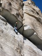 Rock Climbing Photo: Laser cut finger crack being contemplated by GHu. ...