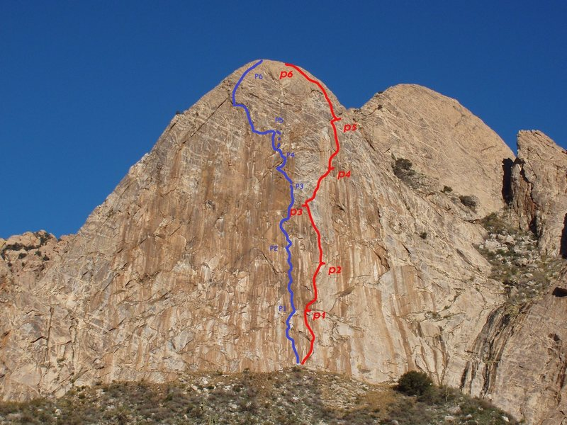 Crater Genetics in blue (by me), Elephantiasis in Red (by Luis).<br> I'm guessing there are various options for the 6th pitch, I painted the one DM (who led the even numbers) chose to climb, with huge exposure and superb finish.