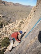 Rock Climbing Photo: R. Shore on the traverse at the start of the secon...