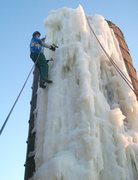 Rock Climbing Photo: A few thin spots up top, but most of the ice was r...