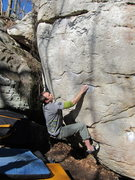 Rock Climbing Photo: Paul crimping up Cinderella.