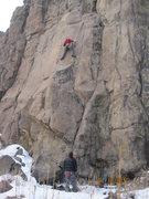 Rock Climbing Photo: Wayne Crill at the crux of Sea Urchin where he was...