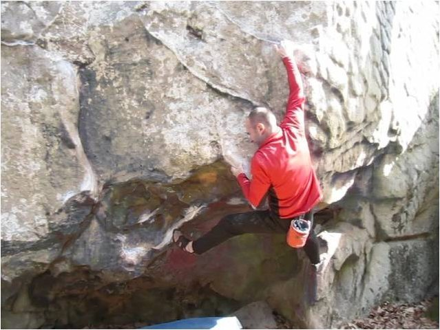 Rock Climbing Photo: The powerful undercling move.