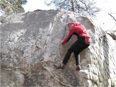 Rock Climbing Photo: In the layback crack, prepping for the slabby topo...