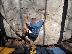 Rock Climbing Photo: Traversing the Cinderella boulder.