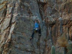 Rock Climbing Photo: On the FA. Photo: Adam B.