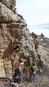 Rock Climbing Photo: Trixie finishing up The Crack, V3.