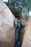 Rock Climbing Photo: Justin pulling hard on the Peppertree Problem, V2+