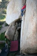 Rock Climbing Photo: Commitment required for the top mantle on Inscript...